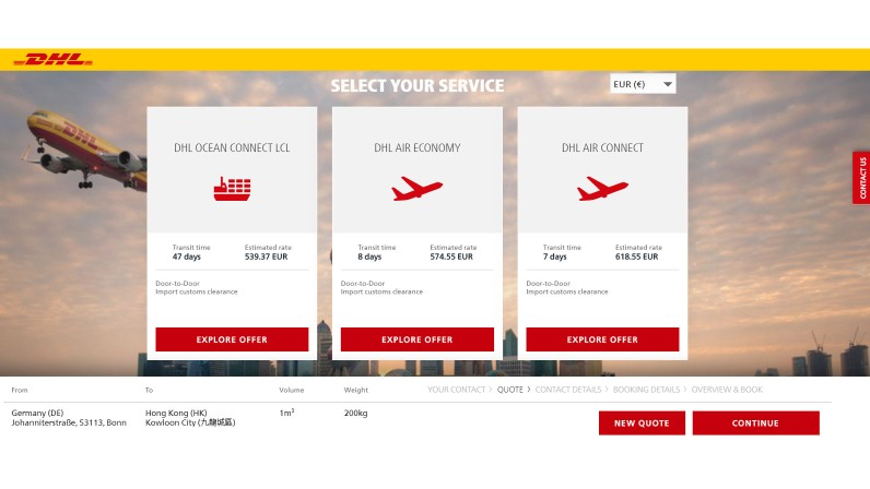 Shippers can compare air and ocean options via myDHLi