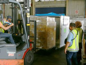 Japan-bound Halal frozen food being loaded in specially labelled ULD