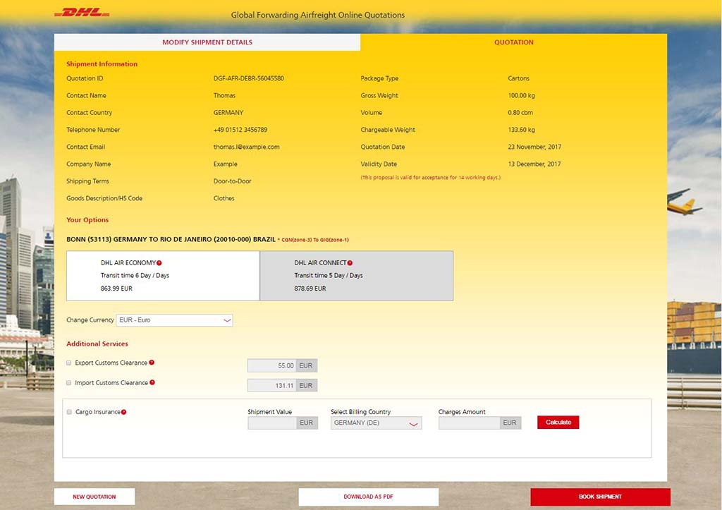 Dhl Offers Online Airfreight Quotes ǀ Air Cargo News