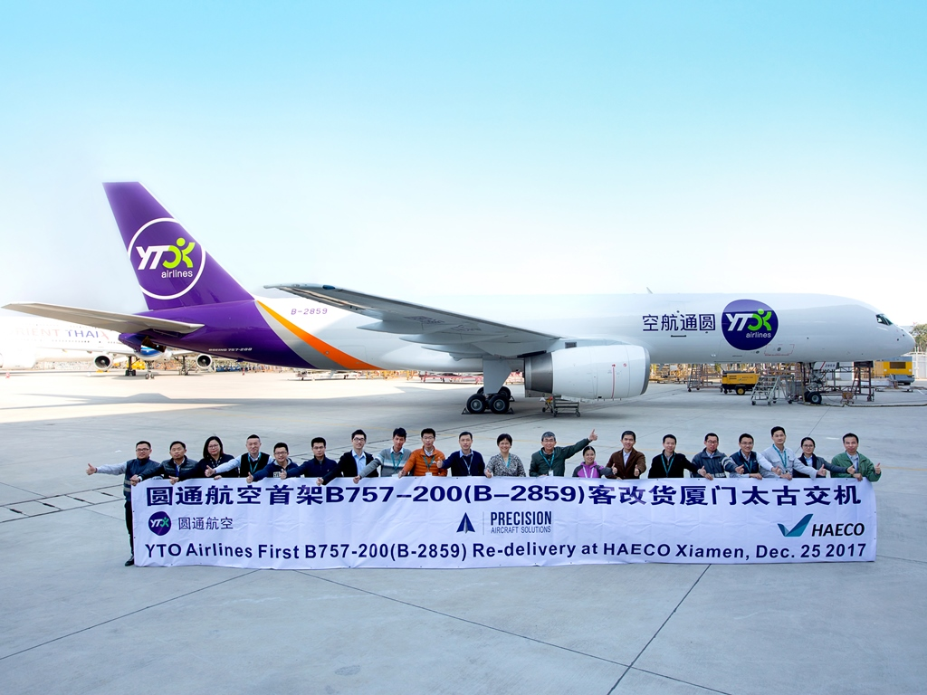 yto takes delivery of its first b757 freighter from precision ǀ air